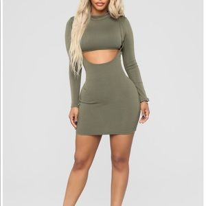 Khaki Green Dress - Fashion Nova - Long Sleeve